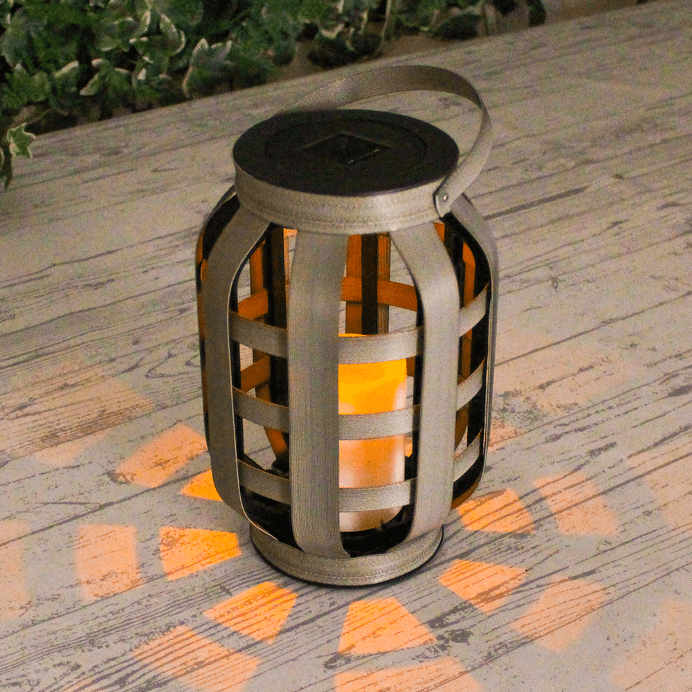 Solarlamp Woodstyle Medium geweven rotanlook op zonne-energie